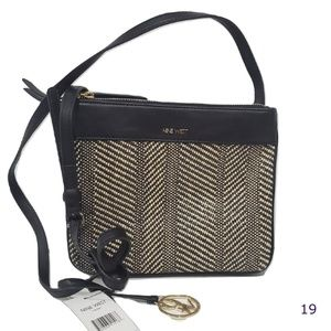 Nine West Black Woven Helda Crossbody Shoulder Bag